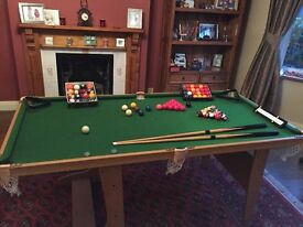Folding Pool/Snooker table with table tennis top