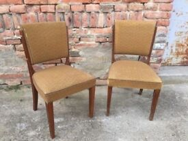 Pair Of Vintage Dining Chairs, Edwardian Style, Timber Comfort Mid-Century