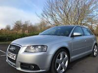 Audi A3 2007 S line SPORT BACK what a stunner 12 MONTHS TEST FSH 77k full LEATHER