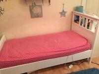 Ikea Hemnes white wooden single bed frame (optional mattress)
