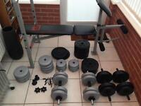 Pro Power gym weights set with bench