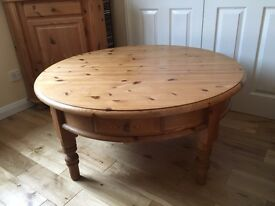 Pine large round coffee table with 4 x drawers - german quality