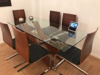 Modern Glass / Wooden Dining Table and Chairs (x6)