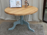 Round Painted Pine Dining Table Duck Egg Blue