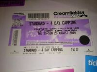 Selling two standard camping tickets for creamfiels for £400 need gone asap