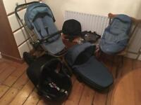 Quinny pushchair/carrycot with maxi cosi car seat