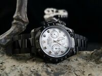 New Rolex Daytona all black strap & white pearl face with time stones complete set with Rolex boxbag