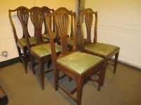 SET OF 6 SIX VINTAGE MAHOGANY WYLIE AND LOCHHEAD GLASGOW SHIELD BACK DINING CHAIRS FREE DELIVERY