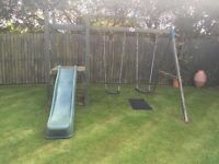 Slide and double swing set