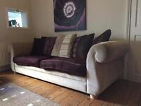 Gorgeous cream and purple sofa settee