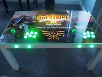 2 PLAYER ARCADE COFFEE TABLE WITH BUILT IN SCREEN
