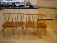 Four Vintage Authentic Ercol 737 dining chairs (1980) in elm