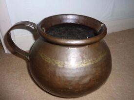 Beautiful vintage extra large hammered copper mug planter