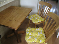 Hardwood Kitchen Table + 2 Chairs