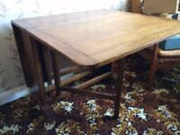 Oak dining room table and chairs, collection only