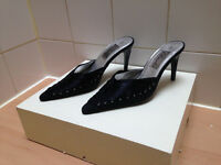 Womens size 5 black lace textile slip on mules from Liberta, 3.5 inch heel