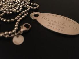 Tiffany & co. Dog tag necklace pendant (oval)