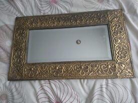 Vintage Brass Mirror Antique Rectangular Bevelled Edge