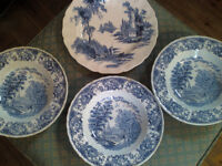 4 x Blue and White Dresser Shabby Chic project plates bowls