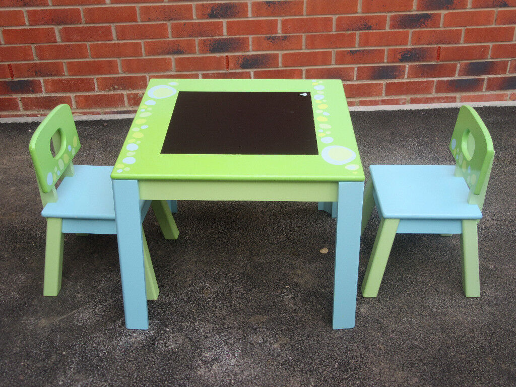 ELC wooden table and 2 chairs set with blackboard blue green desk