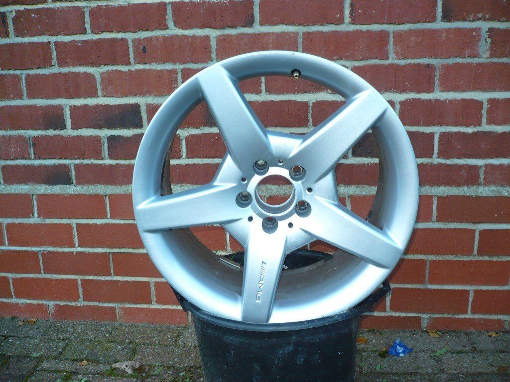 """18 """" alloy amg wheel rim 5 spoke genuine mercedes only used as spare. been on car once."""