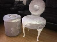One off vintage chair set with storage stool