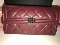 Authentic New Chanel Long Boy wallet in lambskin quilted