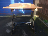 Vintage / Retro Laptop Desk - Upcycled Cast Iron with Solid Oak Top