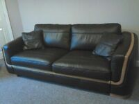 Brown leather sofa suite with wooden trim