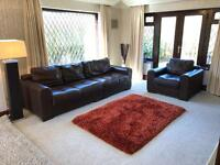 Brown Leather 2 Part 3 / 4 Seater Sofa + Armchair In Excellent Condition From Barker & Stone house
