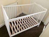 White Cot With Mattress & Bedding- *Excellent, Clean Condition*