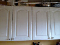 Kitchen wall cabinets 3 doubles & 3 singles, one with leaded glass front