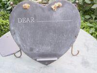 Two Cute Heart Shaped Slate Kitchen Chalk Boards