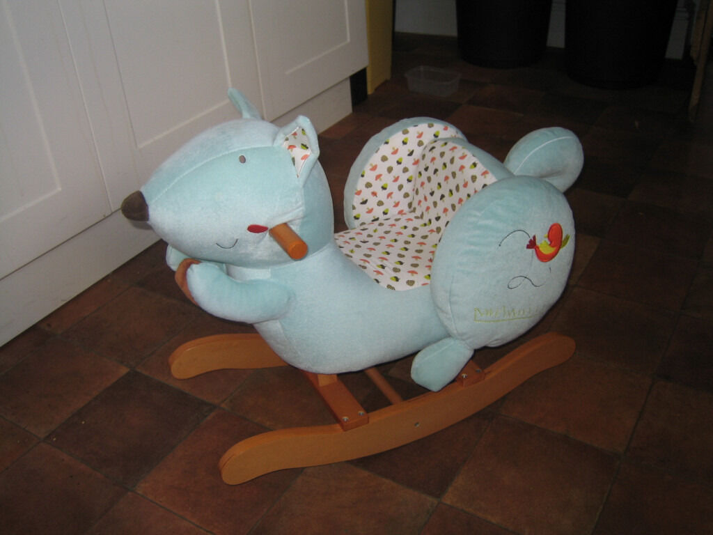 Labebe Baby Wooden Rocking Horse Blue Squirrel In