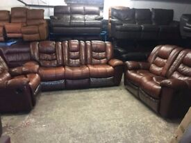 Genuine leather 2 seater 3 seater recliners plus rocker recliner
