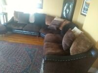 Leather corner sofa and footstool