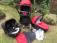 Joie Chrome travel system pushchair, carry cot and car seat
