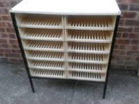 Storage rack with metal frame