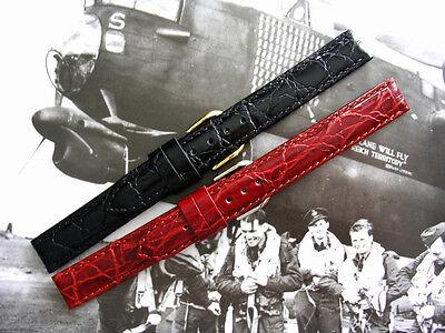 14mm Mens Brown Alligator Croc Leather vintage dress watch band strap IW SUISSE