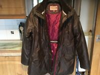 TAYBERRY brown wax style lined coat size XL. 23inch pit - pit. Lots of pockets. IMMACULATE.