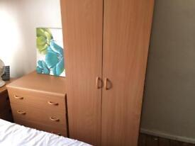 Beech wardrobe and chest of drawers