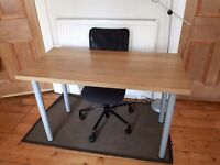 Ikea desk (light wood) and office chair (black)