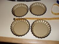 4 Mini flan dishes brown french glassware
