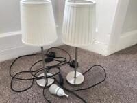 2 lamps with white shades lampshades