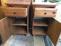 Oak effect bedside cupboards x 2