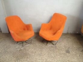 Pair of Vintage Big Tubby Cocktail Swivel Chairs Metal Framed Molded Foam Comfortable 60s