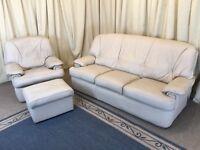 Cream Leather Suite - 3 Seater Sofa Armchair & Footstool