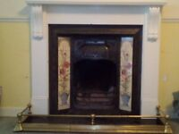 Victorian fireplace insert and painted surround (+grate and firebasket)