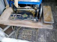 Jones and co pedal powered sewing machine