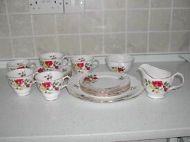 Crown Essex Richmond Rose Vintage Bone China Tea Set